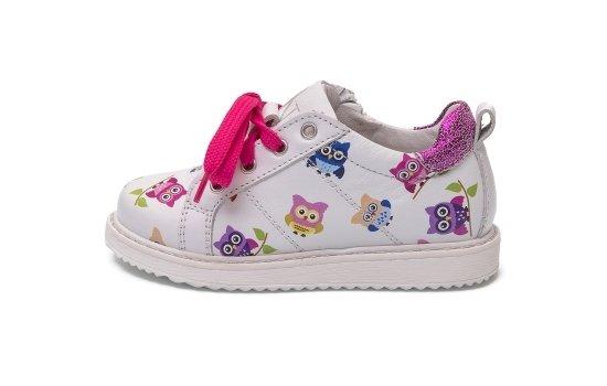sneakers bianche con gufi ninette en fleur