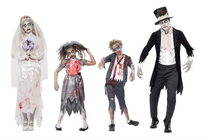 costumi di Halloween - famiglia di zombie