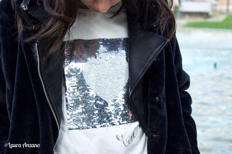 t-shirt iDO con paillettes autunno inverno 2018 2019