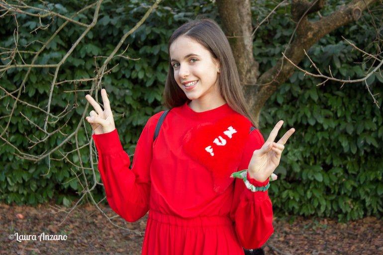 vestito rosso Fun&Fun con dettaglio eco pelliccia