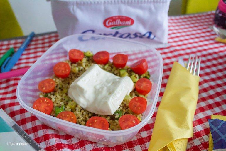 certosa galbani con bulgur quinoa zucchine e pomodorini